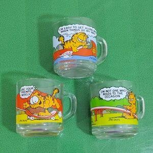 1978 Garfield & Odie Comic Mugs by McDonalds 3pc.